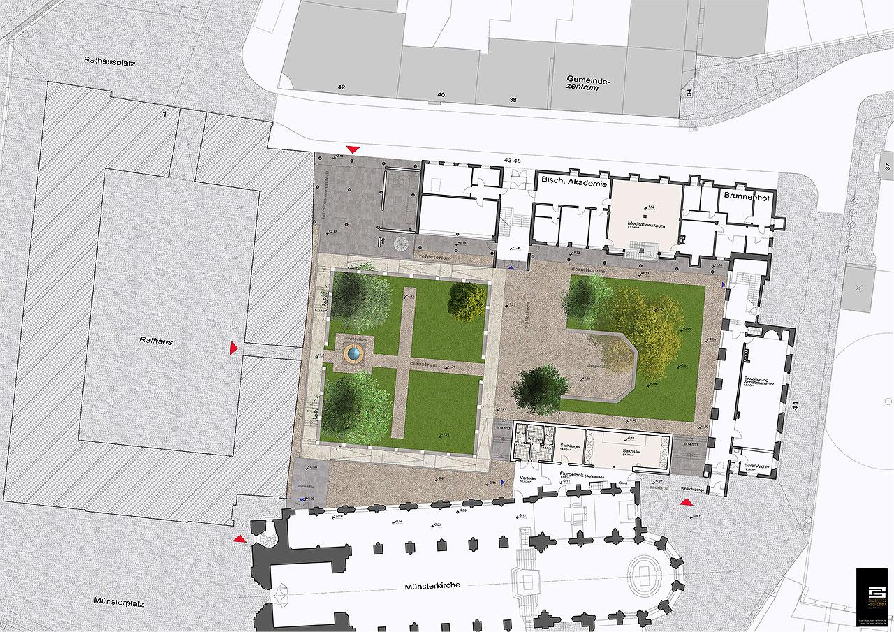Grafik Projekt Brunnenhof Planskizze